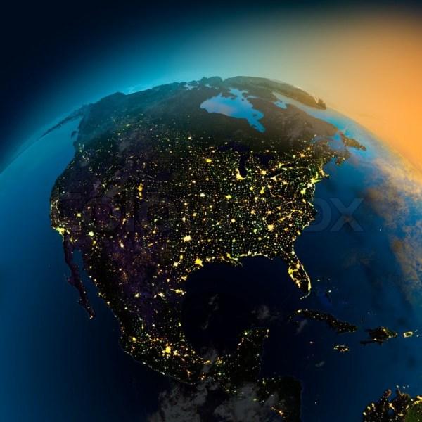 North America Satellite Night View