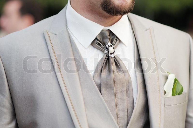Elegante Dekoration Mann Hochzeit Anzug  Stockfoto