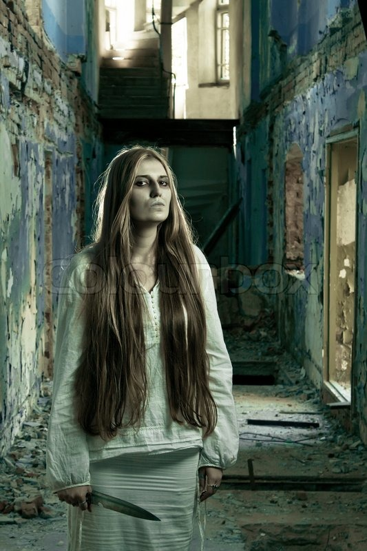 Gothic Girl Wallpaper Fantasy Zombie Girl In Abandoned Building With Knife Stock Photo