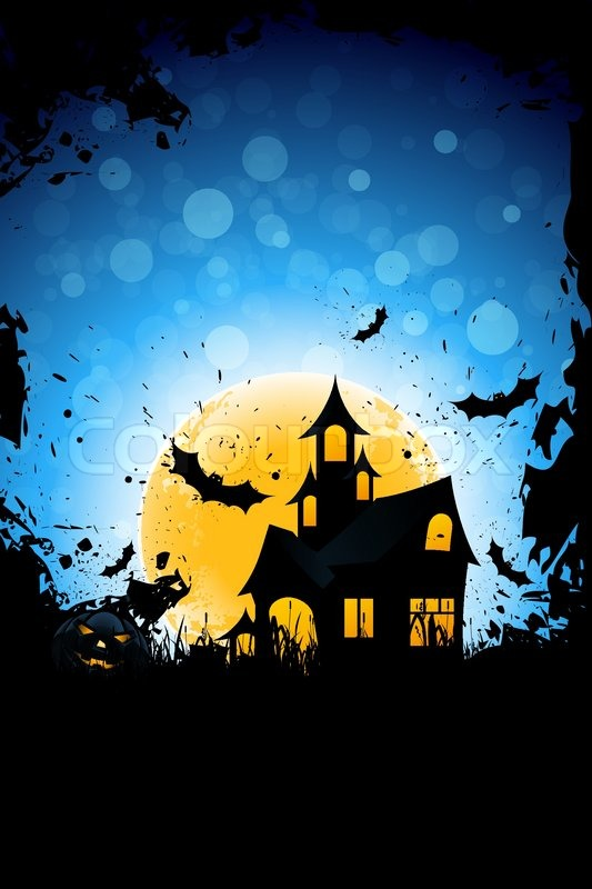 Spooky Fall Wallpaper Grunge Background For Halloween Party With Pumpkin Haunted