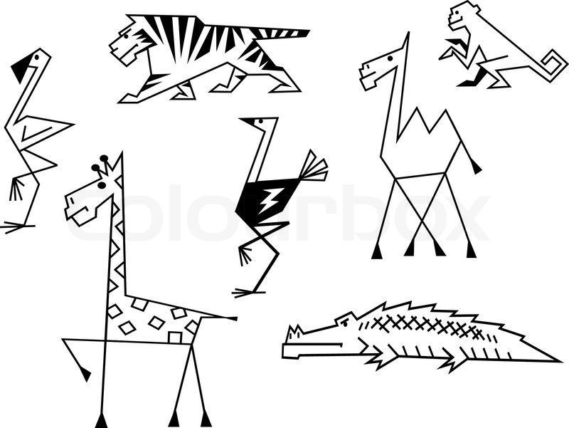 Funny Animals In The Jungle Stock Vector