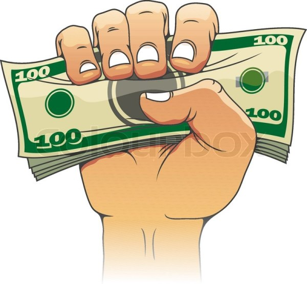 money in people hand stock vector