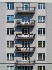 Windows on the wall of apartment building | Stock Photo ...