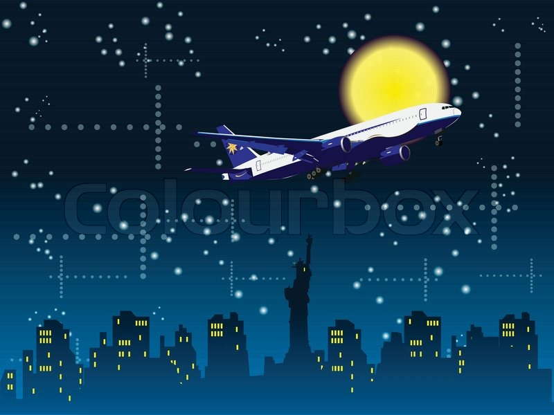 At The Night Flight Over The New York Background Stock