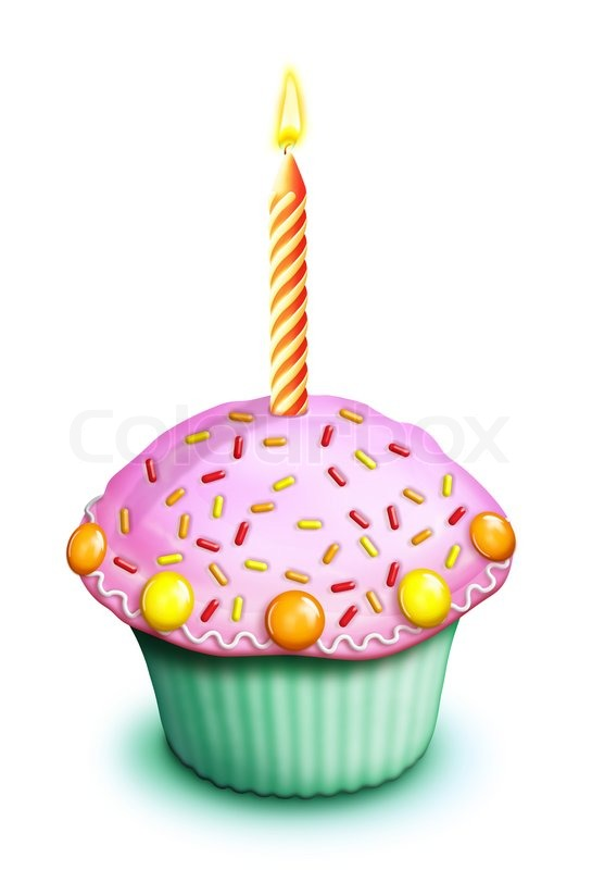 Illustrated Birthday Cupcake With Stock Image Colourbox