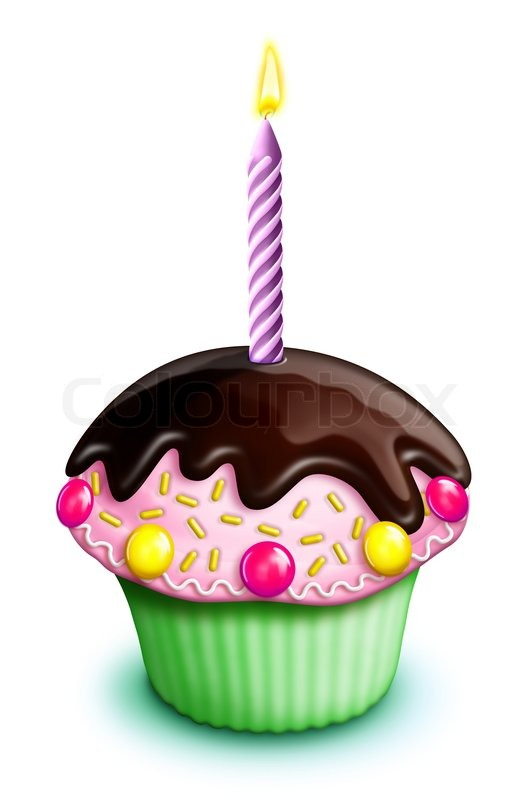 Illustrated Birthday Cupcake With Candies And Candle