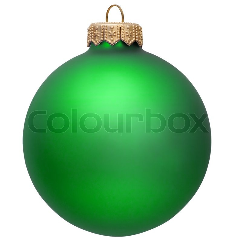 Green Christmas Ornament Isolated Over White Stock Photo