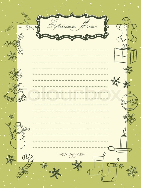 Christmas Seasons Vintage Memo Sheet Stock Vector