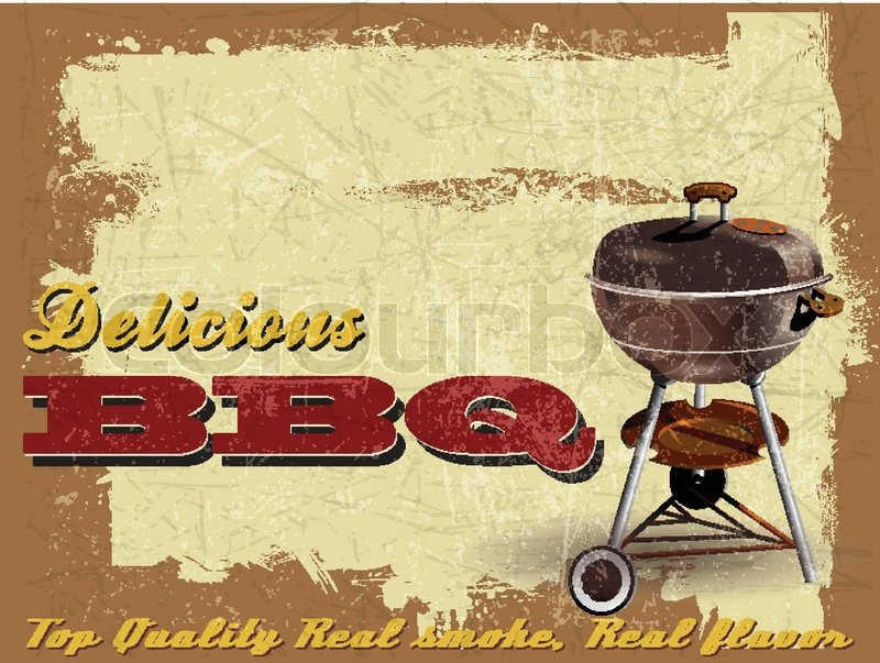 Vintage BBQ Grill Party illustration   Stock Vector