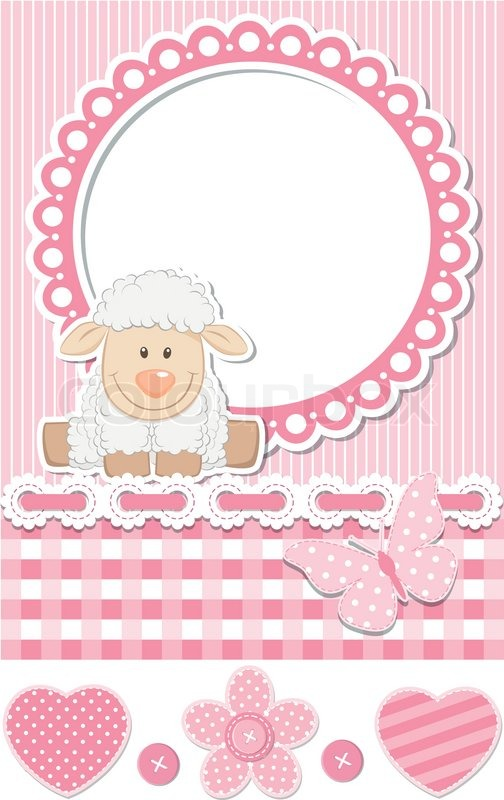 Happy baby sheep pink scrapbook set  Stock Vector  Colourbox