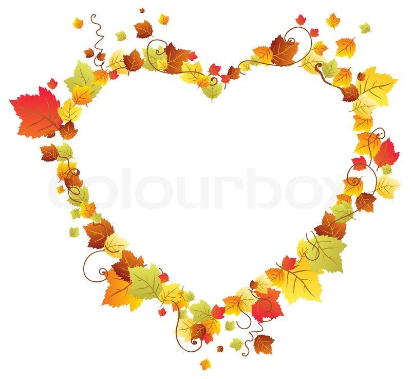 Fall Leaves Wallpaper Border Autumn Leaves In The Heart Frame Stock Photo Colourbox