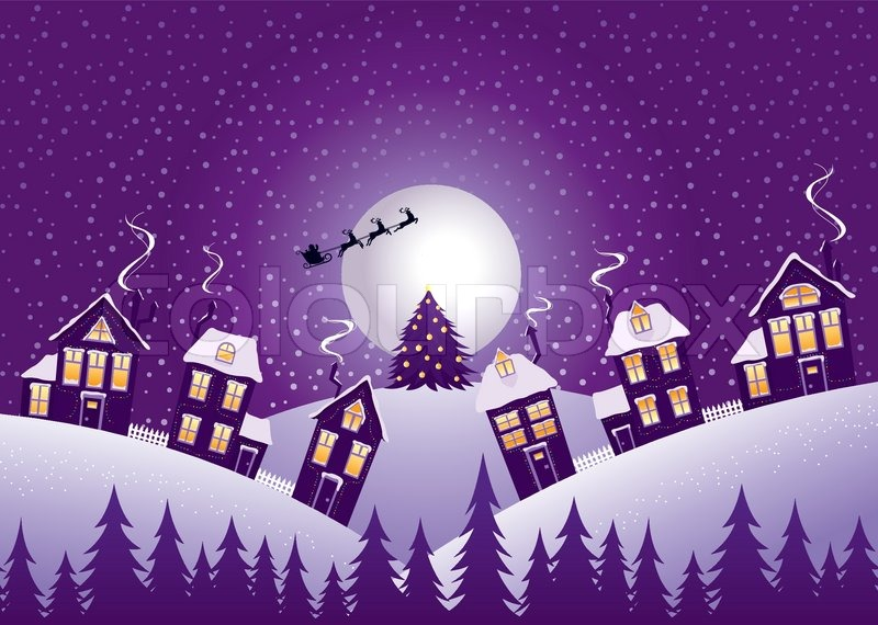 Violet Christmas Night Stock Vector Colourbox