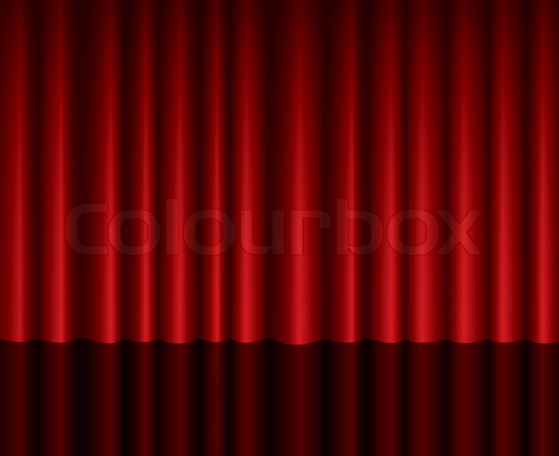 closed red theater curtain background