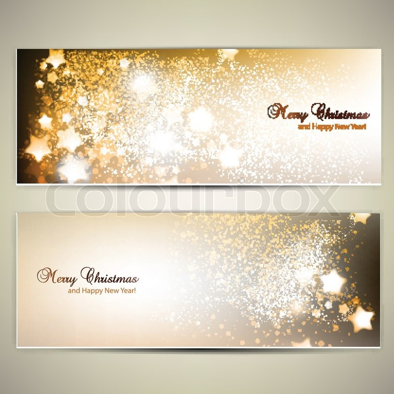 Set Of Elegant Christmas Banners With Stars Vector