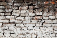 Brick wall background pattern with old white paint texture ...
