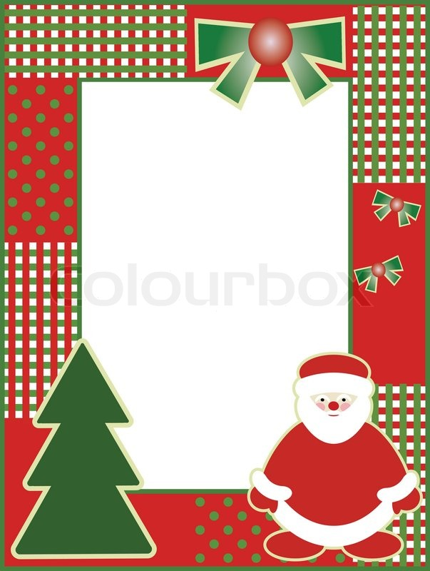 New Years Frame With Christmas Tree And Santa Claus No