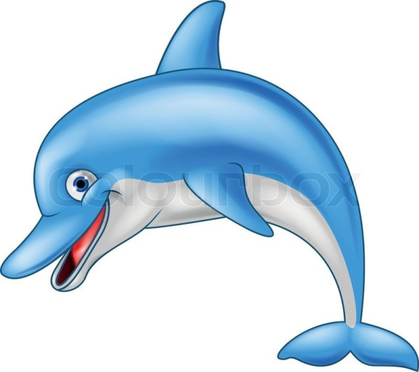 vector illustration of happy dolphin
