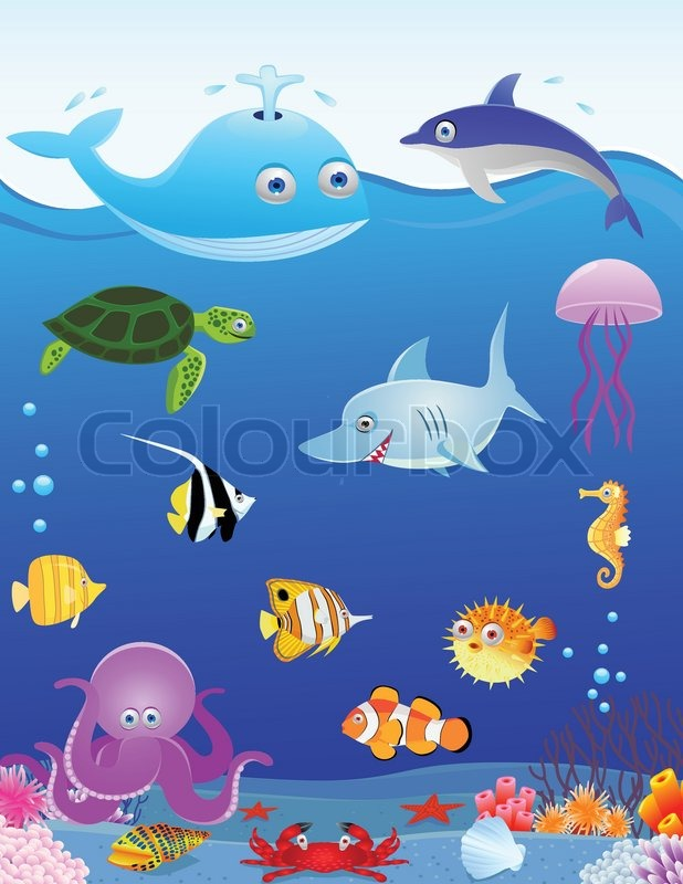 Cute Jellyfish Clipart Vector Illustration Of Sea Life Cartoon | Stock Vector