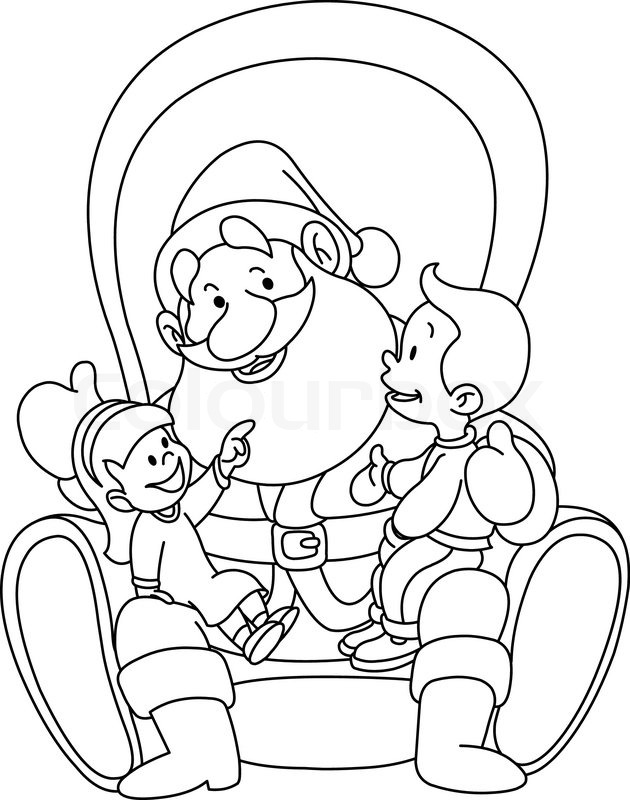Outlined illustration of kids sitting on Santa lap