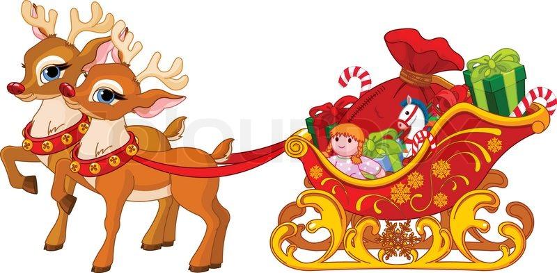 Art Sled Claus Santa Clip