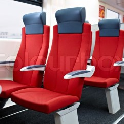 Modern Chair Rail Wing Back Slipcover High Speed Train Interior   Stock Photo Colourbox