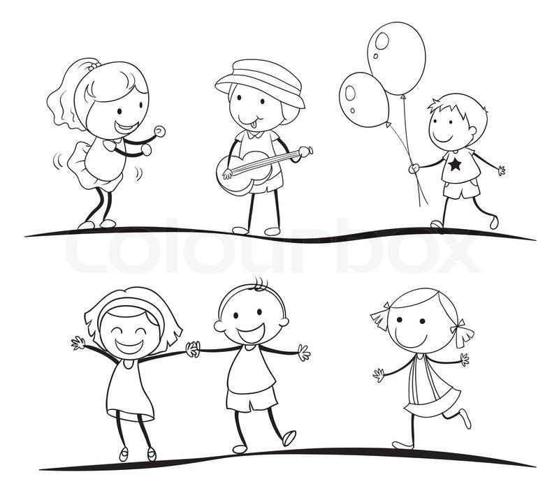 Skizzen von Kindern  StockVektor  Colourbox