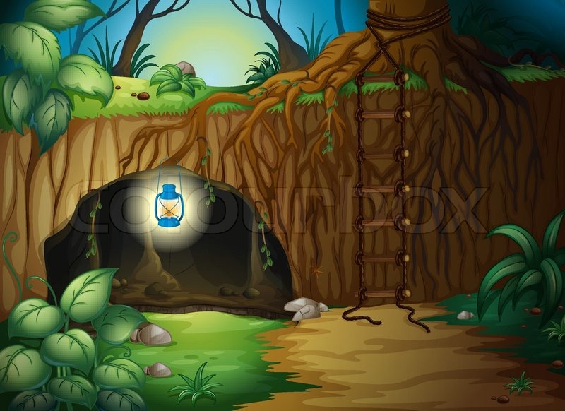 A cave in the jungle  Stock Vector  Colourbox