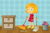 A girl cleaning a room | Stock Vector | Colourbox