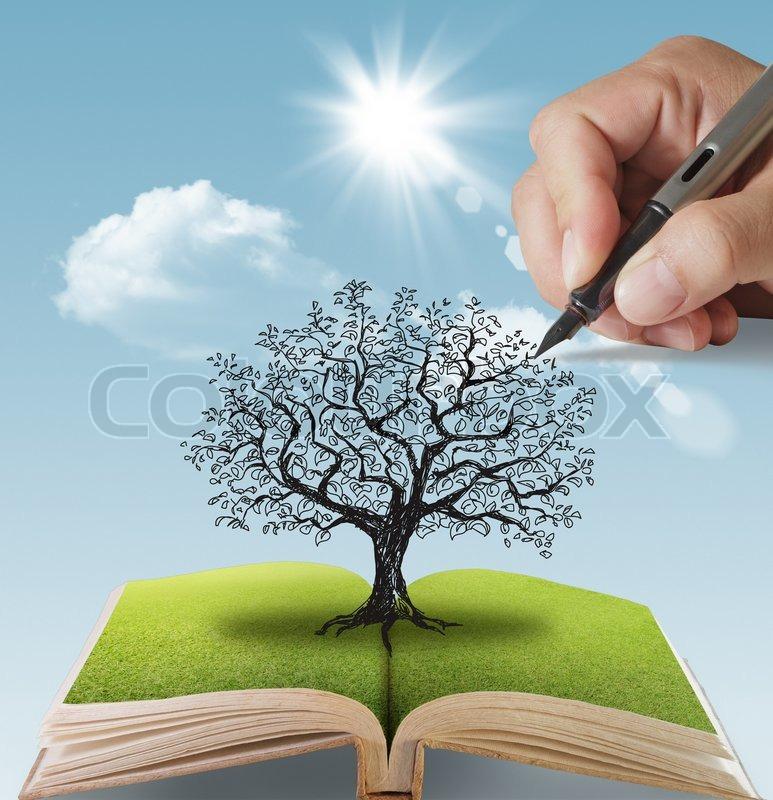 Hand gezeichnet den groen Baum  Stockfoto  Colourbox