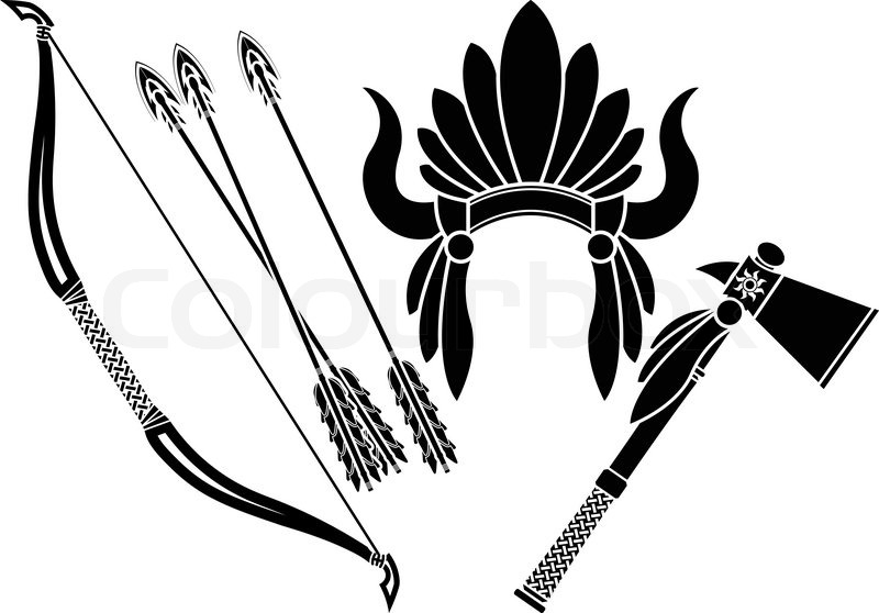 American indian headdress, tomahawk and bow stencileps