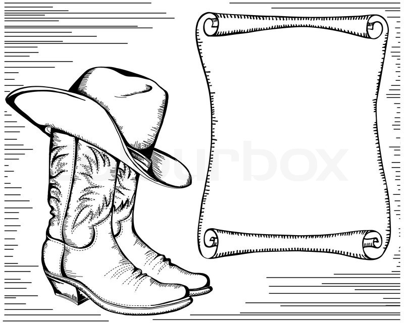 Western background with cowboy boots and scroll for
