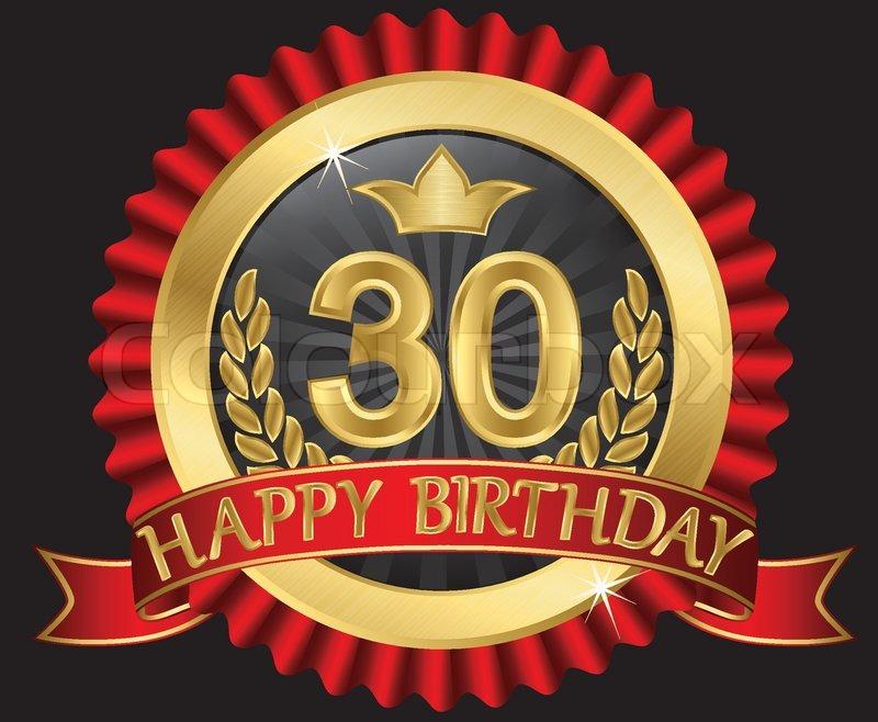 30 Years Happy Birthday Golden Label Stock Vector Colourbox