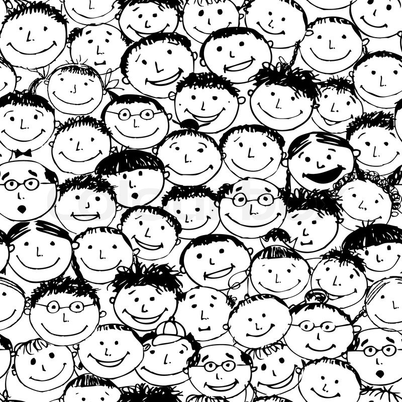 Crowd of funny peoples, seamless background for your