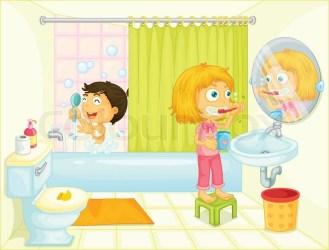 Kids in the bathroom Stock vector Colourbox
