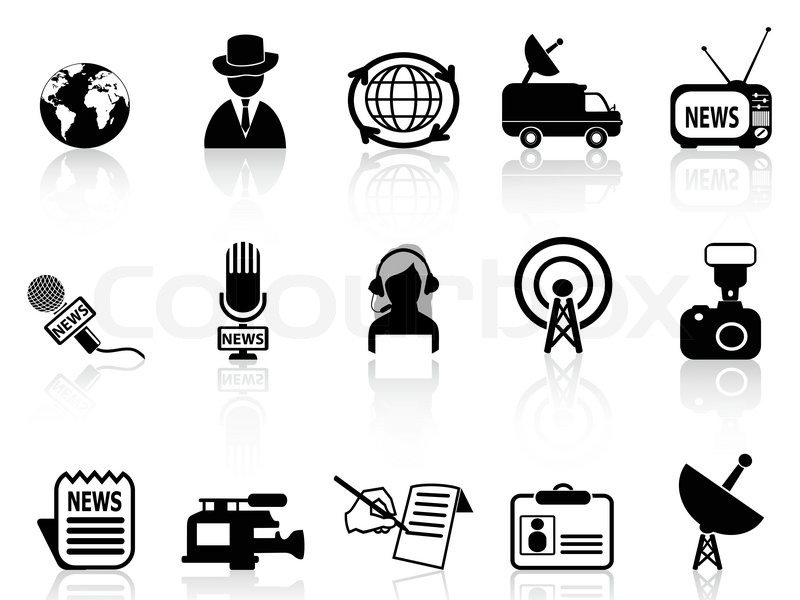 News Reporter Icons Set Stock Vector Colourbox