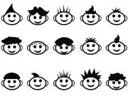 cartoon kids face with hair style
