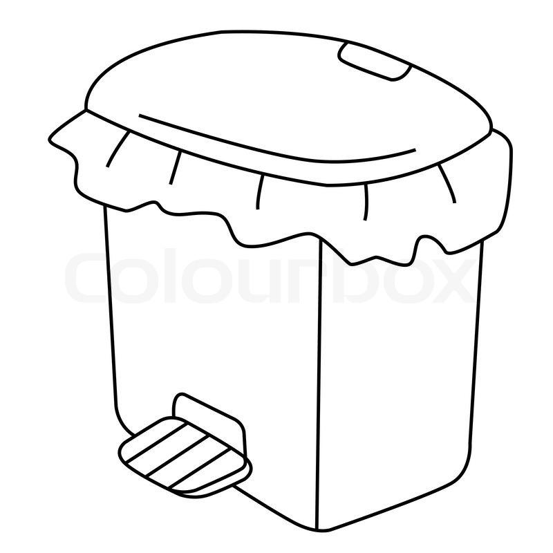 Black outline vector Recycle Bin on white background
