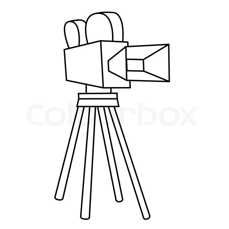 Black outline vector Movie camera on white background