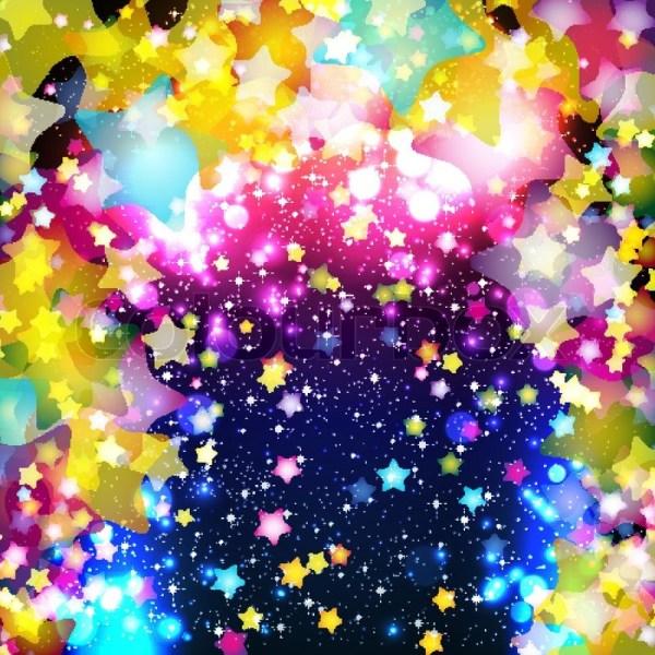 Helle Bunte Fliegende Sterne Auf Einem Fantastischen