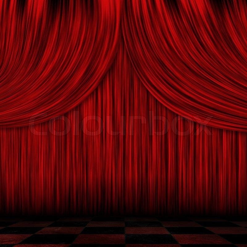 closed red curtains stock