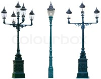Isolated Antique Lamp Post Lamppost Street Road Light Pole ...