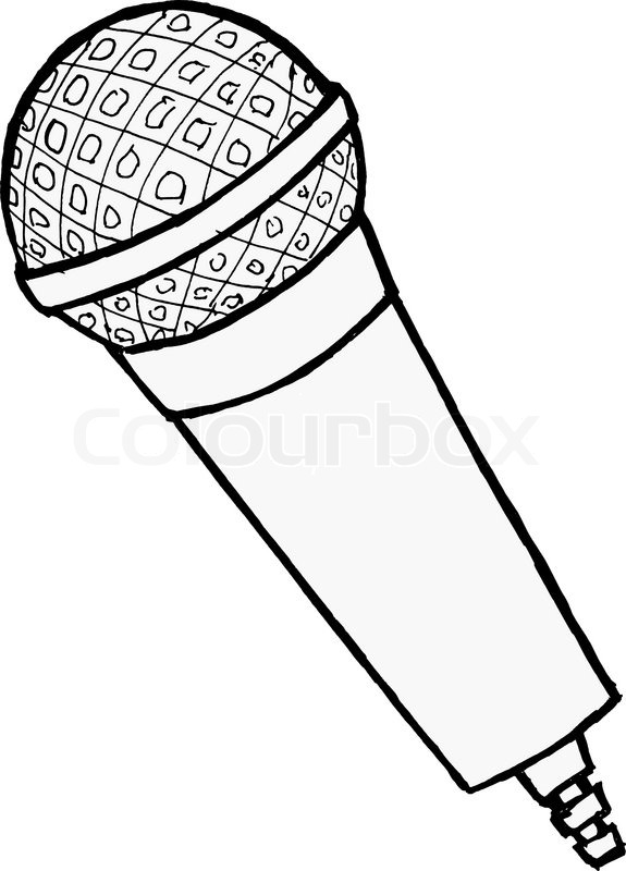 Hand drawn, cartoon, vector illustration of microphone