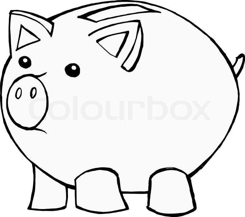 Hand drawn, cartoon, vector illustration of piggy bank