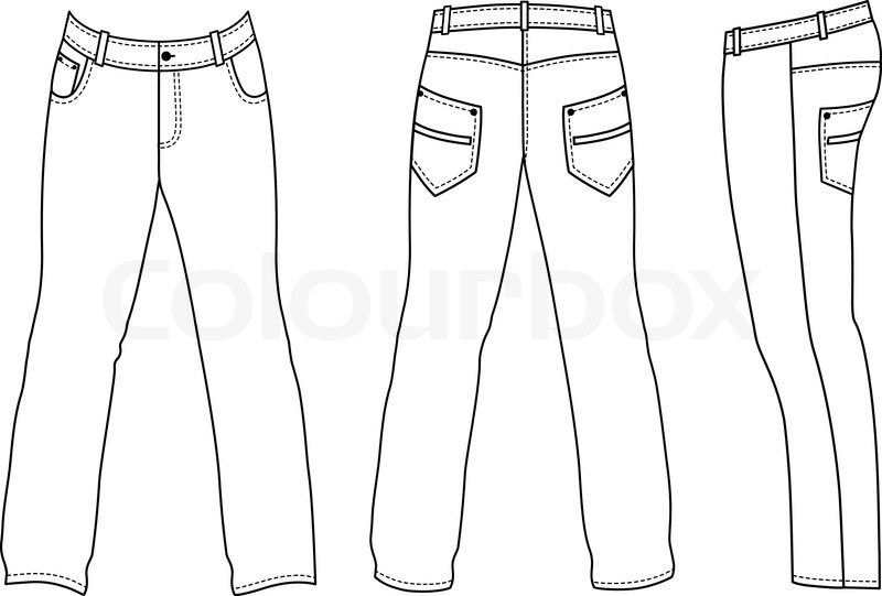 Outline black-white pants vector illustration isolated on