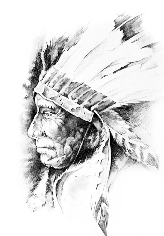 Sketch of tattoo art, native american indian head, chief