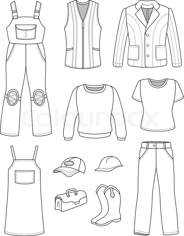 Worker, plumber man, woman fashion set isolated on white