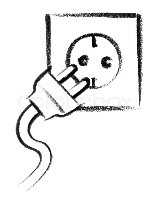 Crayon-sketched illustration of a electrical outlet and