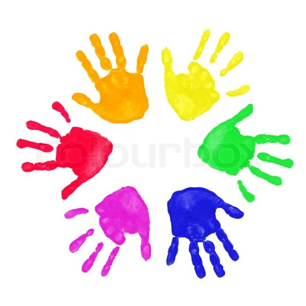 Set of colorful hand prints in rainbow  Stock Photo