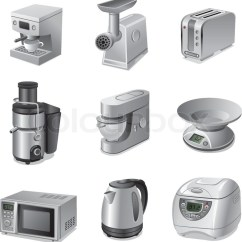Small Kitchen Appliances Cabinet Ideas For Kitchens Icon Set Stock Vector Colourbox