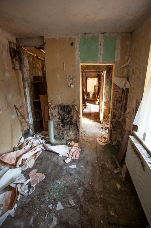 Interior of an old abandoned and rundown apartment  Stock